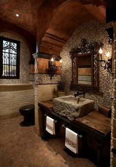 Stone sink, rustic bathroom