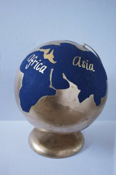 Navy Golden Globe by SavannahAshleyArt on Etsy