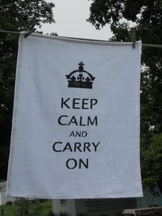 Keep Calm and Carry On  Dish Towel  25L X 19W by GreenMountainBoHo, $8.00