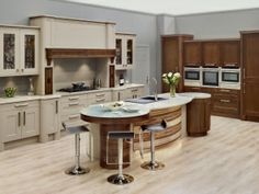 Deco Feature with Barbican doors in painted Clam and Walnut Art Deco Kitchen, Kitchen Paint, Kitchen Dining, Kitchen Island, New Kitchen Designs, Kitchen Images, Kitchen Ideas, Island Table, New Homes