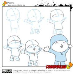 Aprender a dibujar Pocoyo... Recordad: Empezar con la posición con líneas y círculos, luego darle cuerpo con detalles.