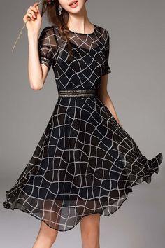 Blacktang Black Hollow Out Plaid Dress