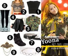 "Get Yoona's look from ""I Got A Boy"" – Military Style  1. TOPSHOP: Basic Short Sleeve Crop Top   2. Motel: The Ronnie Metallic Crop Top   3. 10 Deep: The X Clan Varisty Jacket in DPM Camo   4. Boohoo: Liz Wet Look Scuba Box Pleat Skater Skirt   5. REDOPIN: Metal Studded Leggings @ YesStyle.com   6. Tilly's: Liliana Genie Women's Shoes   7. Forever21: Studded Hip Belt   8. XOXO: Circle Chain Belt   9. Buckle: BKE Military Pin"