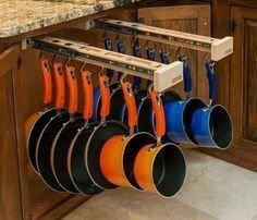 cool idea for storing pots and pans - 50 Best Small Kitchen Storage Ideas For Awesome Kitchen Organization 30 – GooDSGN Kitchen Storage Solutions, Diy Kitchen Storage, Smart Kitchen, New Kitchen, Awesome Kitchen, Organized Kitchen, Kitchen Pans, Kitchen Gadgets, Wooden Kitchen
