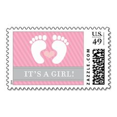 It's a Girl Baby Feet Footprints Postage Stamp. This great stamp design is available for customization or ready to buy as is. Of course, it can be sent through standard U.S. Mail. Just click the image to make your own!