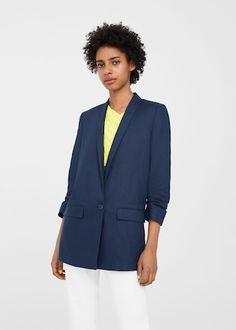 Structured linen jacket | MANGO
