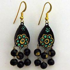 Dangled Black Beads Terracotta Earrings - Craft Shops India