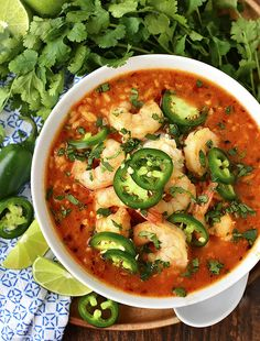 Spicy Shrimp Soup is a copycat recipe from our favorite Ecuadorian restaurant. Spicy, garlicky, and comforting, you will eat bowl after bowl of this easy soup recipe! I'm sitting here at eati Easy Soup Recipes, Spicy Recipes, Fish Recipes, Mexican Food Recipes, Cooking Recipes, Healthy Recipes, Healthy Soups, Chicken Recipes, Shrimp Soup