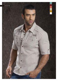 Camisa-para-hombre-color-arena-manga-tres-cuartos - sand-shirt-for-men- three-quarter-sleeves Formal Shirts, Casual Shirts For Men, Men Casual, Cargo Shirts, Wedding Shirts, Plain Shirts, Tailored Shirts, How To Roll Sleeves, Men's T Shirts