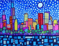 50% Off Today - Chicago Art Poster Print of Heather Galler Painting - Cityscape Modern Abstract Folk Art