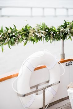 Intimate Wedding On Board The Everest Yacht Greenery decor for an intimate yacht wedding Boat Wedding, Yacht Wedding, Beach Wedding Favors, Wedding Souvenir, Nautical Wedding Theme, Wedding Themes, Wedding Ideas, Themed Weddings, Diy Wedding