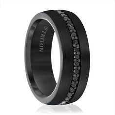 Black Tungsten Ring With Black Sapphires by Triton at Titanium-Jewelry.com