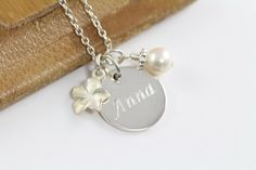 Flower Girl Jewelry: A Gift for your Flower Girl. A custom engraved name necklace for your beautiful Flower Girl. Make it personal! Make it meaningful! Wedding Jewelry by ShinyLittleBlessings