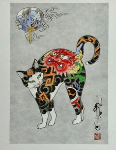 Japanese Embroidery Tiger Kazuaki Horitomo Kitamura, Monmon Cats 39 - Kazuaki Horitomo Kitamura combines his love of art with his love of cats. In the early his wife brought home a stray cat, and he fell in love with her. Tattoo Gato, Cat Tattoo, Chat Oriental, Japanese Cat, Japanese American, Image Chat, Art Asiatique, Motifs Animal, Arte Sketchbook