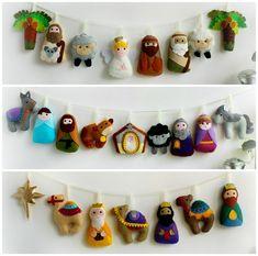 Felt Christmas Decorations, Felt Christmas Ornaments, Christmas Nativity, Christmas Bells, Etsy Christmas, Christmas Child, Nativity Crafts, Felt Crafts, Holiday Crafts