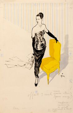 Fashion illustration by Rene Gruau for the magazine 'Femina' around 1949,  Yellow chair