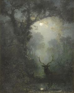 The Goddess. Mother Earth. Mother Nature.  Stag  by Eugen Krüger (German, 1832-1876)