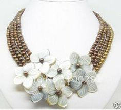Fashion woman 4 row white shell and pearl flower necklace earring sets $43.60