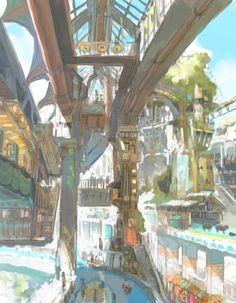 帝国少年~( ´ ▽ ` )ノ(@tksn4tt) 님 | 트위터의 미디어 트윗 Fantasy City, Fantasy Places, Fantasy World, Fantasy Art Landscapes, Fantasy Landscape, Environment Design, Environment Concept, Fantasy Background, Architecture Background