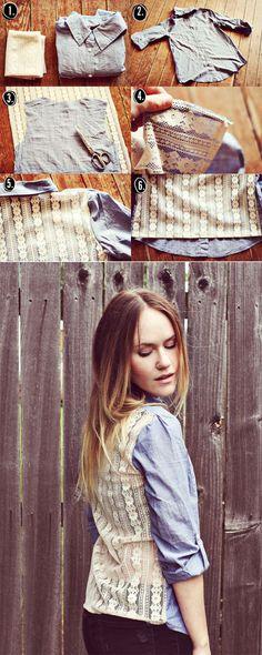 DIY: camisa jeans com renda.