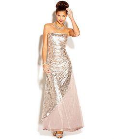 Jump Juniors Dress, Strapless Sequin Gown - Juniors Prom Dresses - Macy's