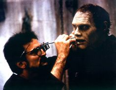 Makeup EFX master Tom Savini touching-up Bub (Sherman Howard) on the set of Day of the Dead, Horror Icons, Horror Films, Horror Art, Legends Of Horror, Monster Horror Movies, Tom Savini, George Romero, Scary Movies, Character Design