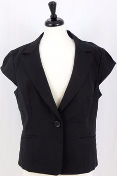 Ann Taylor Cap Sleeve Career Jacket One Button Notch lapel Lined 18 #AnnTaylor #Blazer