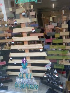 Our upcycled christmas trees - made from waste wood at Hastings Furniture Service