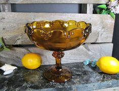 Indiana Glass, Tear Drop Pattern, Scalloped Edge, Large Amber Trifle Pedestal Bowl, Compote, Fruit or Dessert Bowl, Urban Dining & Serving by TheStorageChest on Etsy