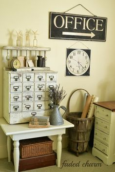 Faded Charm: library card catalog (of course). Love the rustic bin idea too ...