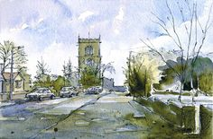 Steve Greaves - All Saints Church, Darfield - watercolour landscape painting