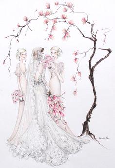 The Floral Bridal Series - Alexandra Nea Wedding Drawing, Wedding Dress Sketches, Wedding Art, Wedding Couples, Illustration Mode, Wedding Illustration, Watercolor Illustration, Calligraphy Drawing, Wedding Cards Handmade