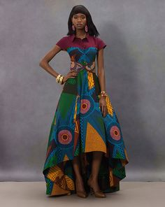 VLISCO FASHION LOOK | Big dresses are a great way to show off stunning fabrics, such as this colourful Wax-block. #vlisco #art #icons #hommagealart #africanprint #dutchwax #waxhollandais #fashion