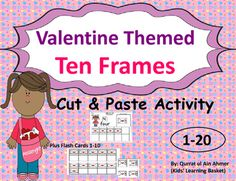 Valentine Themed Ten Frames : Cut and Paste Activity* Ten Frames 1-20.* Cut and paste Pages from 1-20.* Flash Cards from 1-10.In this cut and paste activity students have to count the envelopes on Ten frames and then find the respective envelope and cut it to paste that envelope on the blank box.Students will easily get the concept of counting and through this fun activity.