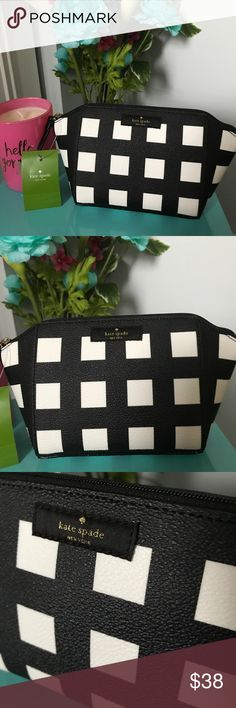 Kate Spade Small Eady Grove Street Makeup Cosmetic You are looking at an Authentic Kate Spade New York item.  Cosmetic Case: Small Eady Code: WLRU3004 Print: Grove Street Color/Design: Popartchck (989)  Approximate measurements: 12in x 12in x 3in kate spade Bags Cosmetic Bags & Cases