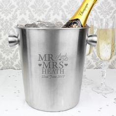 MR & MRS Ice Bucket - £36.99 these make gorgeous weddings, anniversary, 11th Anniversary - Steel or house warming gifts! Order on our website or inbox us - https://www.all-things-interior.co.uk/collections/wine-cooler/products/mr-mrs-luxe-ice-bucket?utm_content=bufferd60cd&utm_medium=social&utm_source=pinterest.com&utm_campaign=buffer #steelweddinganniversary #11thweddinganniversary #weddinganniversarygift #weddinggift #housewaminggift #icebucketgift