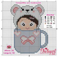 Dhebyart: CupMenina Cute Cross Stitch, Cross Stitch Charts, Victorian Cross Stitch, Pixel Art Grid, Stitch Doll, Pixel Crochet, Disney Cross Stitch Patterns, Donia, Needlepoint Canvases