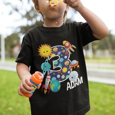 Personalized Outer Space 3 Year Old Birthday Party Kids T-Shirt For Boys Girls Toddlers Space Birthday Party Supplies T-Shirt 3 Year Old 3 Year Old Birthday Party Boy, 3rd Birthday Parties, Birthday Shirts, Boy Birthday, Space Space, Girl Toddler, Boys T Shirts, Outer Space, Spaceship