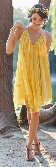 The Mysterious Girl Yellow Late Summer Little Dress