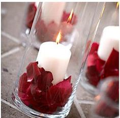 centerpiece; cute we could do something like this with mason jars (which I have a choice boxes of) and tea lights