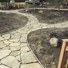 Beginning stages of our flagstone layout at a residential home here on the Central Coast. Stayed tuned for the finishing touches :) #landscape #shareslo #visitslo #centralcoast #flagstone #landscapedesign #calpolyslo #calpolyalumni #path #purlieulandscapes #purlieu #Jesusrocks