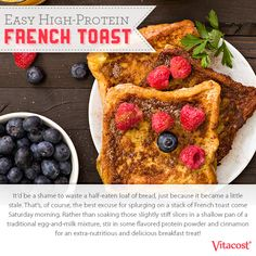 Easy High-Protein French Toast Recipe  Rather than soaking slightly stiff bread slices in the traditional egg-and-milk mixture, add whey powder and cinnamon for flavorful, protein-packed French toast!