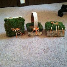 Moss and birch ring pillow + flower girl basket