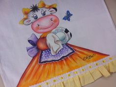 Arte Brasil | Pintura+em+Pano+de+Copa+Vaquinha+do+Lar - Beth+Matteelli