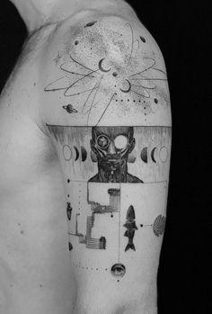 50 Brilliant Black And Grey Tattoos - Get an Ink Line Art Tattoos, Tattoo Drawings, Cool Tattoos, Comic Style Art, Comic Styles, Tattoo Black And Grey, Disney Tattoos, Traditional Tattoo, Rustic Furniture