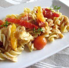 pasta con pescatrice peperoni e pomodorini #italianfood #italianrecipes #foodphotography #recipe #pasta #tomatos