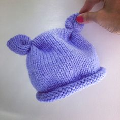 Hand-knitted baby hat with ears