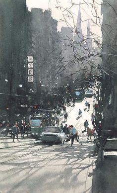 Winter sunshine, Melbourne by Joseph Zbukvic Watercolor City, Watercolor Sketch, Watercolor Artists, Watercolor Techniques, Watercolor Landscape, Watercolor Illustration, Watercolor Paintings, Watercolours, City Painting