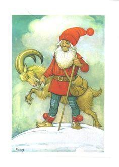 Christmas Gnomes in Sweden | swedish christmas postcard