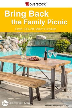 On your deck or under a shady tree, this outdoor dining set is just right for casual dinners. It's styled as the iconic picnic table but updated in acacia wood and powder-coated iron to ensure it stays beautiful and durable for years.